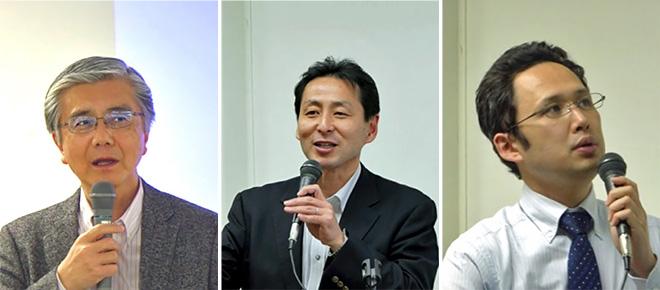 Prof. Sadao Obana (left), Mr. Takehito Nakamura (center), Mr. Satoshi Nagata (right)