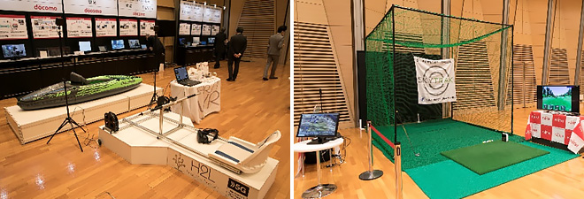 (from the left) [GI NTT DOCOMO] Ultra High Bit-Rate Communication in Outdoor Environments, [GII NTT Communications] Ultra-High Speed Communication under Moving Environments