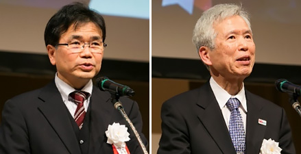 Mr. TAWARA Yasuo, Director-General of the Radio Department, MIC (left), Dr. YOSHIDA Susumu, 5GMF Chairman and Kyoto University Professor Emeritus (right)