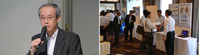 (左)講演する佐藤5GMF事務局長 (右)パネル展示の様子