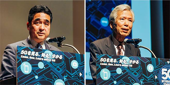 総務副大臣 坂井 学氏(左)、5GMF会長 京都大学 名誉教授 吉田 進氏(右)