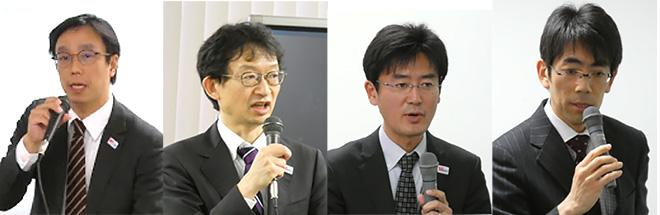 (左から)中里 学氏 総務省、本多 美雄氏 エリクソン・ジャパン、今田 諭志氏 KDDI、新 博行氏 NTTドコモ