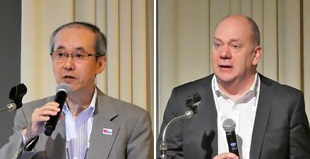 佐藤孝平氏(5GMF事務局長)(左)Nigel Jefferies氏(WWRF議長)(右)