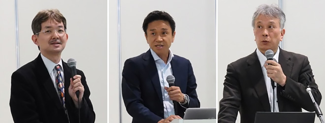 NTTドコモ 石井 一彦氏(左)、日立製作所 川野 隆氏(中)、KDDI 田中 俊昭氏(右)